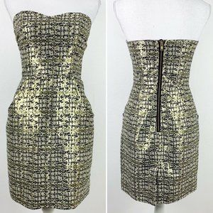 H&M 6 Mini Dress Strapless Gold Black Pockets